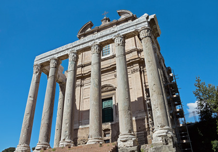 The church of San Lorenzo in Miranda, built in the 17th century within the remains of the Temple of Antoninus and Faustina  Tempio di Antonino e Faustina  in the Forum Romanum, Rome, Italy  photo