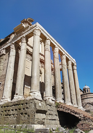 The church of San Lorenzo in Miranda, built in the 17th century within the remains of the Temple of Antoninus and Faustina (Tempio di Antonino e Faustina) in the Forum Romanum, Rome, Italy. photo
