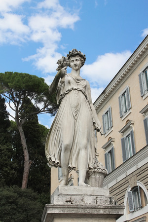 allegorical: Goddess of abundance statue  One of the four allegorical sculptures in Piazza del Popolo, Rome, Italy