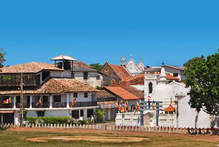 galle: Fortress Galle, Sri Lanka, view on Shri Sudharmalaya Buddhist Temple