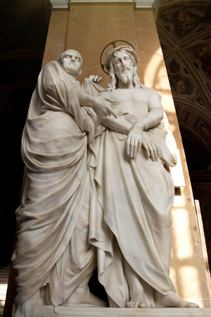 beatification: ROME, ITALY - APRIL, 19  Sculpture  Ecce Homo  with Jesus Christ and Pontius Pilate in Basilica of Saint John Lateran, on April 19, 2013 in Rome, Italy
