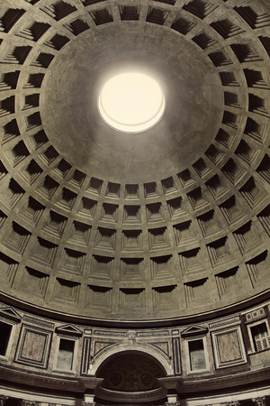 ROME, ITALY - April 20  Interior view of the dome of the Pantheon in Rome, Italy at April 20, 2013  Pantheon was built as a temple to all the gods of ancient Rome, and rebuilt by the emperor Hadrian about 126 AD