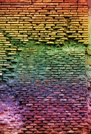 lopsided: Red brick wall with  lop-sided rustication, texture grunge background Stock Photo