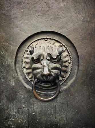 door knocker: Antique door knocker in the form of a lion
