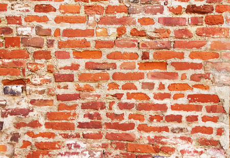 lopsided: Red old brick wal, texture grunge background