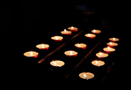 church worship: Candles in church, Venice, Italy