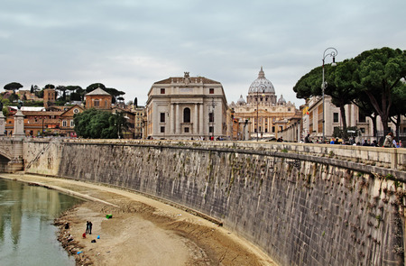 view on Tiber and St Peter Basilica, Roma, Italy