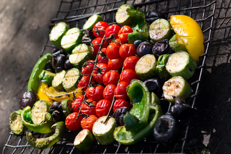 Fresh grilled vegetables, picnic in summer outdoors. Stock Photo