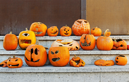 Halloween is finished, pumpkins are defaced. Stock Photo