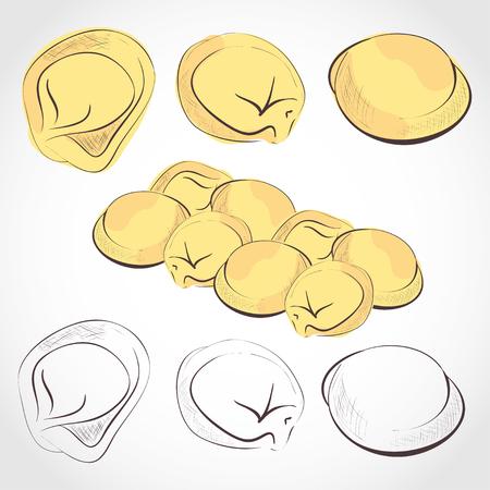 Dumplings Food Set in sketch illustration. Stock Illustratie