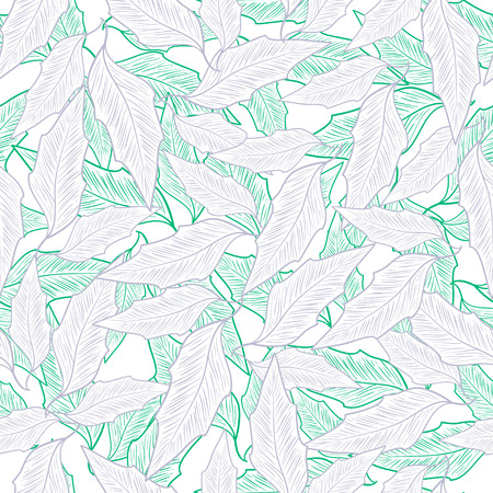 Background of green and purple leaves in sketch illustration, seamless pattern.