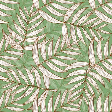 Coconut leaves seamless pattern illustration.
