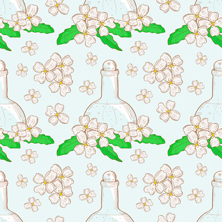 Jasmine Flower and Oil in Vial, sketch, monochrome illustration in seamless pattern.