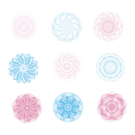 Blue and pink guilloche on a white background. It can be used as a protective layer for the certificates, diplomas, banknotes.