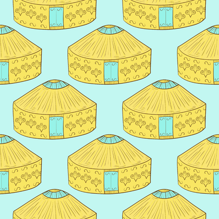 Yurt. Background, wallpaper, texture. Seamless. Yellow and blue color. Sketch