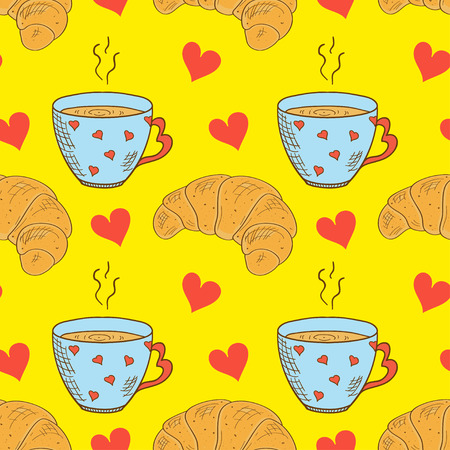 cups and croissants pattern with hearts on yellow background. Vector illustration. Ilustração