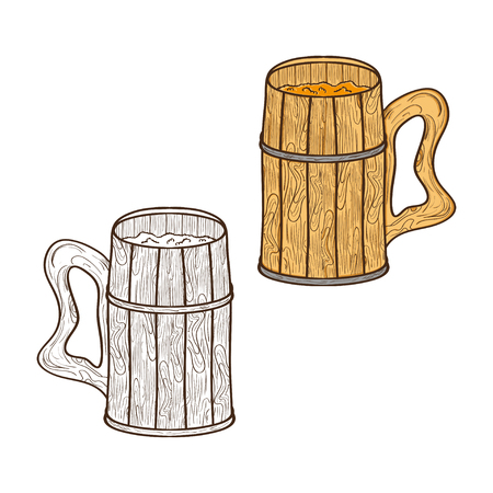 A mug made of wood  For beer. Sketch  Set  Color and monochrome drawing. Vector illustration. Illustration