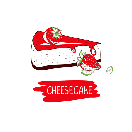 Cheesecake with strawberries  On a white background. Vector illustration.