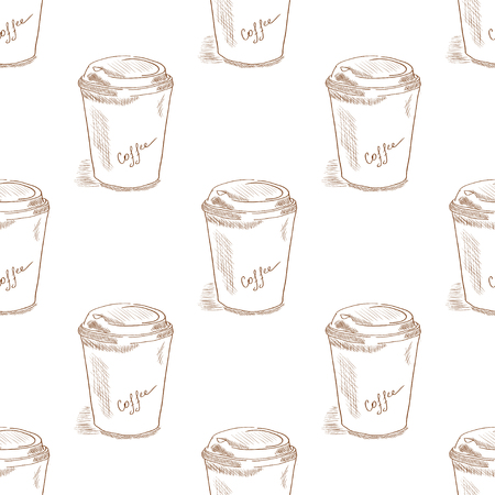 Coffee. Glass. Sketch, doodle. Background, wallpaper, seamless. Monochrome