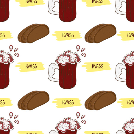 Kvass in glass and bread. Background wallpaper seamless Sketch