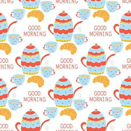 Background of Kettle, cup and bagel. Inscription - Good morning. Seamless wallpaper