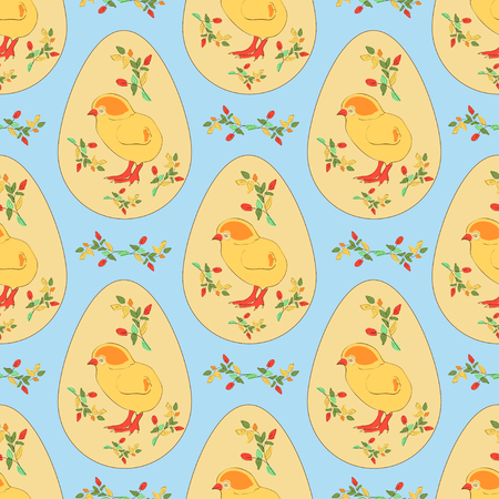 Easter chicken, egg, branch with leaves on a blue background seamless sketch. Illustration