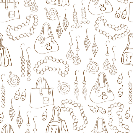 Fashion bag, beads, pendant, earring background, wallpaper, seamless. Sketch, doodle on a white background.