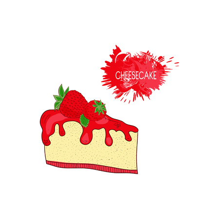 Cheesecake with strawberries on a white background. Can be used as a logo, sign, symbol, abstraction sketch.
