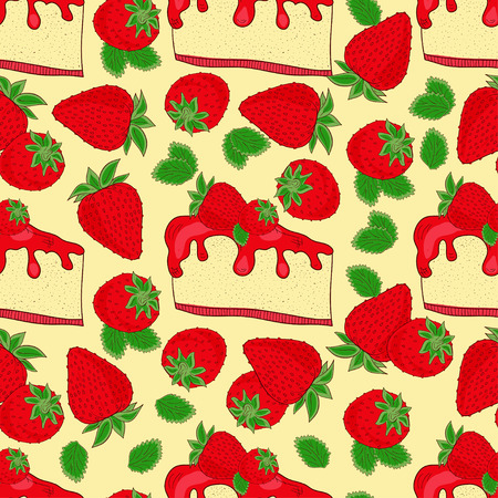 Seamless Strawberry cheesecakes Illustration