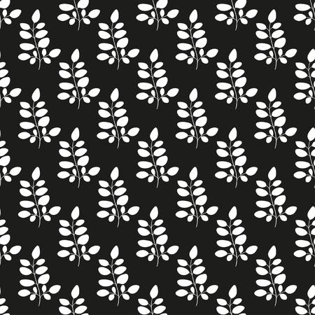 Branch, leaves  White silhouette on black background  Wallpaper, seamless Vector illustration.