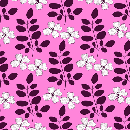Lilac background with flowers and leaves. wallpaper, seamless. Gentle, beautiful. Sketch. Stock Illustratie