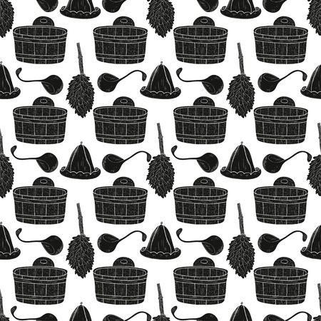 Sauna. Hat, broom, bucket. Black silhouette on white background. Wallpaper, seamless.