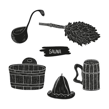 Sauna. Set. Broom, hat, bucket. Silhouette. Black pattern on white background.