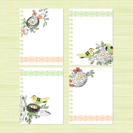 The nest and birds Backdrop, texture, card, invitation, banner Set sketch template Illustration