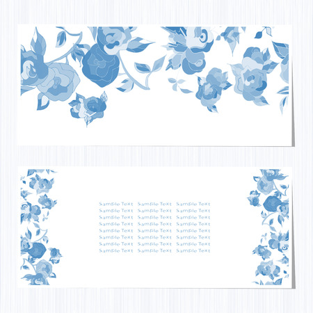 Gzhel, greeting card. Texture, background. Blue flowers, roses on a white background. set Ilustração