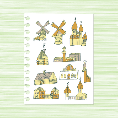 Mill, cottage and  lighthouse set Sketch. Illustration