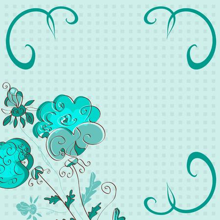 Floral background, postcard, frame. Emerald color. Abstract. doodle. Standard-Bild - 97944413