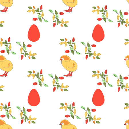 Easter Chicken egg, branch. Background, wallpaper, texture. Seamless Sketch.