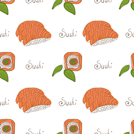 Sushi. Background, wallpaper, texture. On a white background. Sketch. Seamless.
