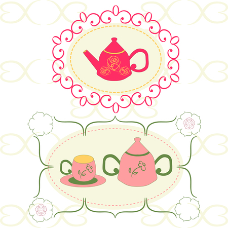 Tea cup and kettle card.  label. Tea cup and pot label set in vintage style.