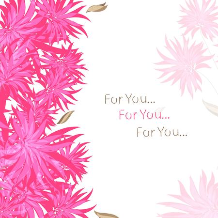 Tarjeta, marco, saludo - flores rojas, rosadas. Sobre un fondo blanco.