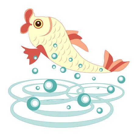 Cheerful fish on white background Illustration