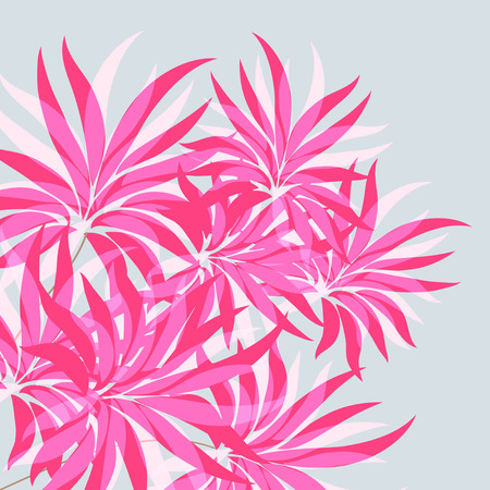 Red, pink flowers  On a blue background. Vector illustration. Çizim