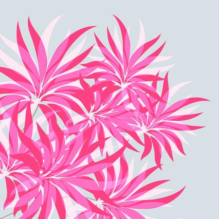 Red, pink flowers  On a blue background. Vector illustration. Illustration