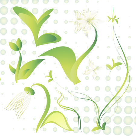 Sprouts  Set on dotted background Vector illustration.