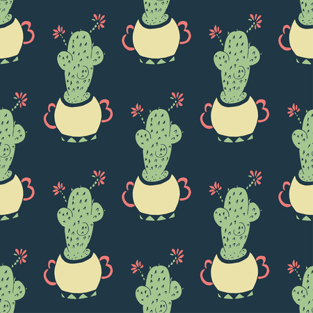 Cactus on a dark background. Seamless doodle, sketch.