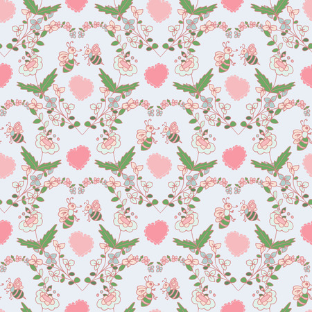 Background with flowers, hearts, bees. Seamless. Beautiful.It can be used on a postcard, invitation, packing cloth.