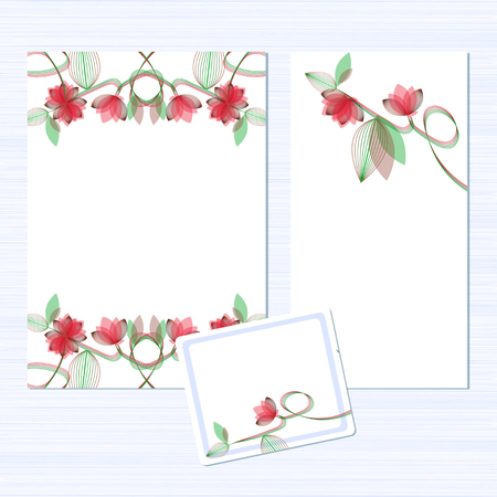 Template. Flowers on a white background. Invitation to the wedding. Congratulations Happy Birthday, Valentine's Day. Card for anniversary. Set. Ilustração