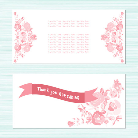 Pink roses. Card for anniversary, birthday. Invitation Template. Set