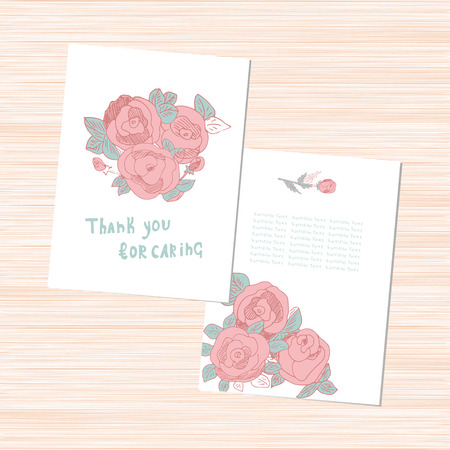 Template. Pink roses on a white background. Postcard invitation. Set. Doodle